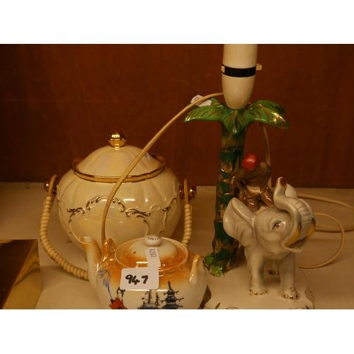 947 - CERAMIC TABLE LAMP PLUS 2...