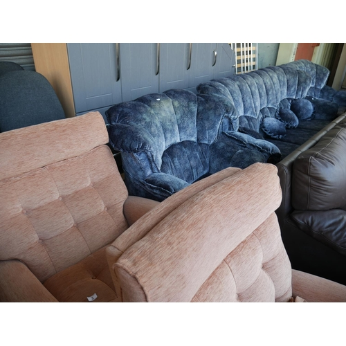 3 - BLUE 3 PIECE SUITE PLUS 2 RECLINING ARMCHAIRS...