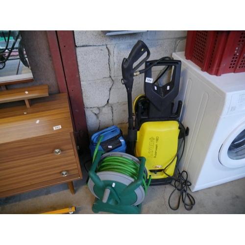 104 - 2 POWER HOSES & HOSE REEL...