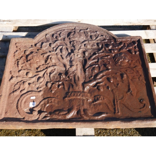 19 - ANTIQUE DOG GRATE BACKING PLATE...