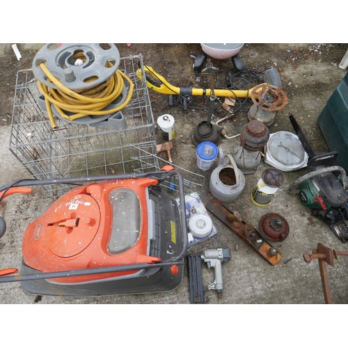 11 - FLYMO, PET CAGE, HOSE PIPE & OIL LAMPS ETC...