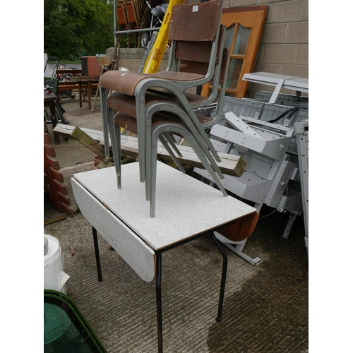 27 - 3 INDUSTRIAL CHAIRS PLUS TABLE...
