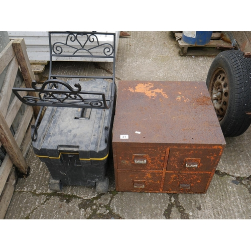 31 - STEEL STORAGE BOX PLUS TOOL BOX ETC...