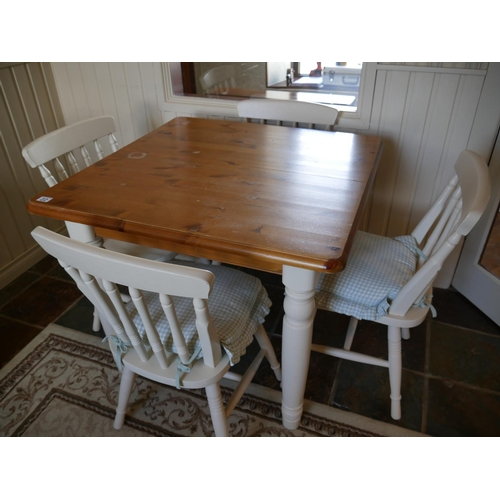 22 - DUCAL PINE TABLE & 4 CHAIRS...