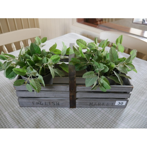 30 - WOODEN CRATE & ARTIFICIAL PLANTS...