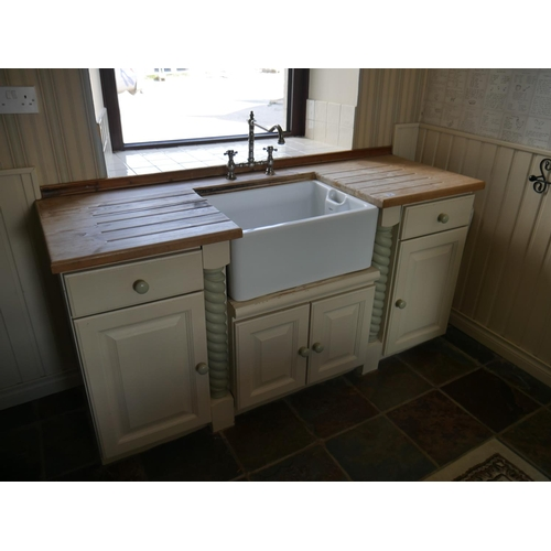 31 - BELFAST SINK AND SCRUBBED PINE KITCHEN UNIT INC TAPS...