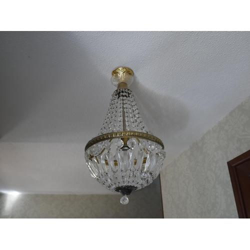 35 - 2 BRASS & DROP LIGHT FITTINGS IN HALL...