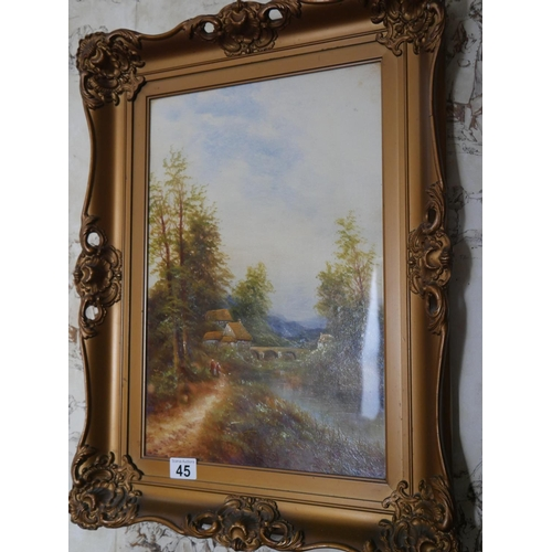 45 - VICTORIAN OIL PAINTING...