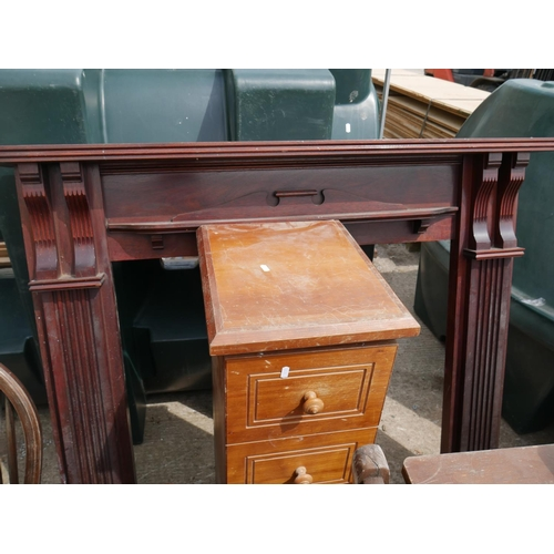 17 - MAHOGANY FIRE SURROUND PLUS CHEST OF DRAWERS...