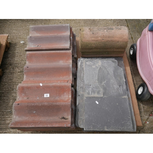 22 - PALLET OF ROOF TILES ETC...