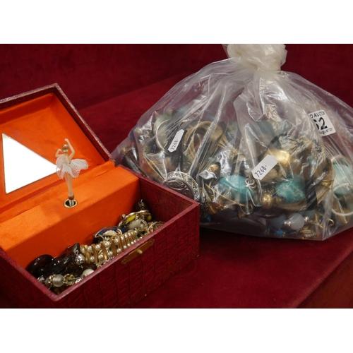 62 - JEWELLERY BOX & CONTENTS PLUS BAG OF JEWELLERY...