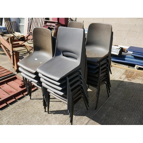 2 - LOT OF BROWN & DARK GREY STACKING CHAIRS...