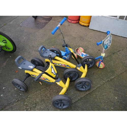 23 - 2 SMALL GO-KARTS & 2 SCOOTERS...