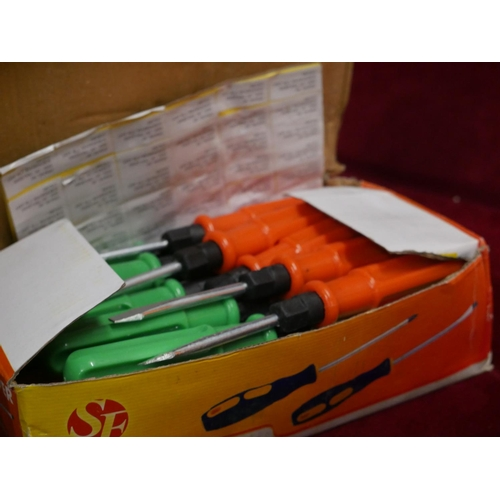 131 - BOX OF SCREWDRIVERS...