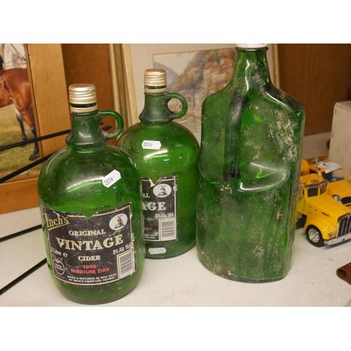 19 - 3 COLOURED GLASS BOTTLES...