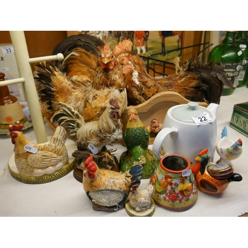 22 - LOT OF HEN ORNAMENTS & TEA POT...