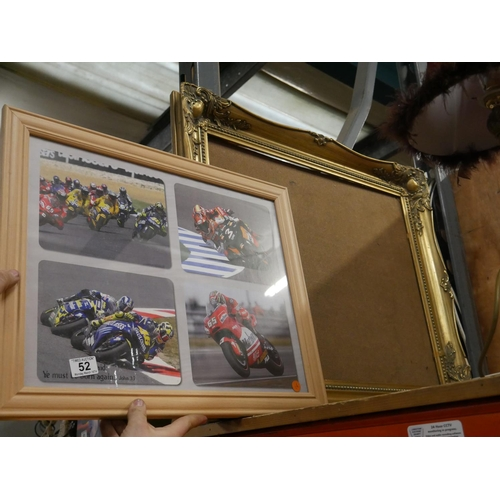 52 - MOTORBIKE PICTURE & GILT PICTURE FRAME...