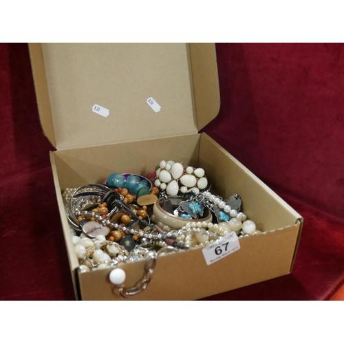 67 - BOX OF COSTUME JEWELLERY...