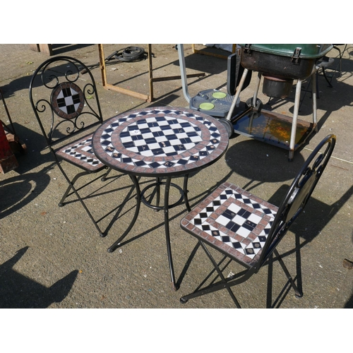 43 - MOSAIC TABLE & 2 CHAIRS...