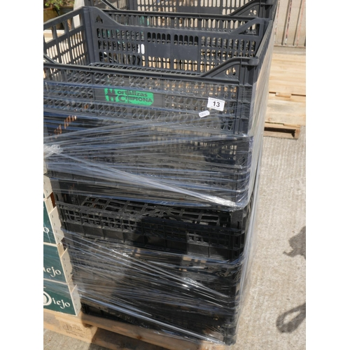 13 - 10 BLACK PLASTIC TRAYS...