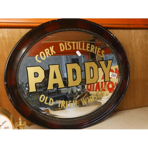 224 - HAND PAINTED PADDY WHISKEY MIRROR...