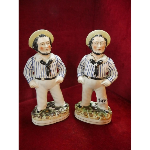 247 - PAIR OF STAFFORDSHIRE FIGURES...