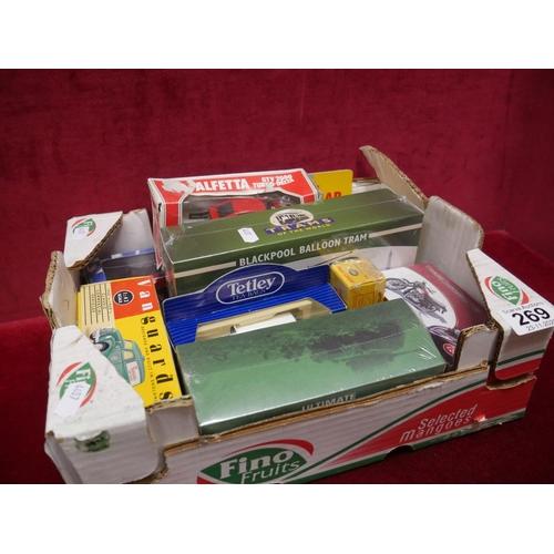 269 - BOX OF MODEL CARS & MOTORBIKE...