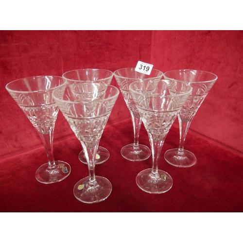319 - 6 BOHEMIAN WINE GLASSES...