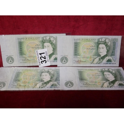 321 - 4 BANK OF ENGLAND £1 NOTES...