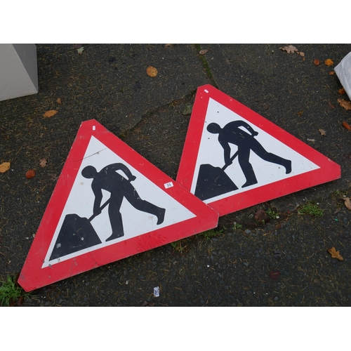 33 - 2 MEN AT WORK SIGN FRONTS...