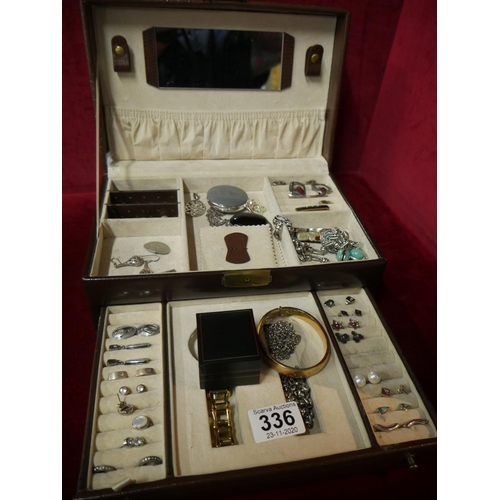 336 - JEWELLERY BOX & CONTENTS INCLUDING SOME SILVER...
