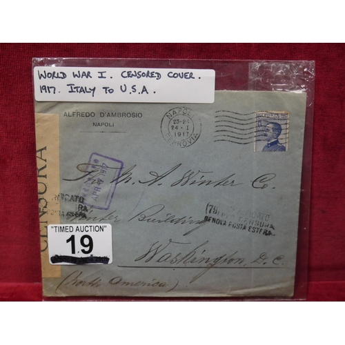 19 - WWI CENSORED COVER 1917...