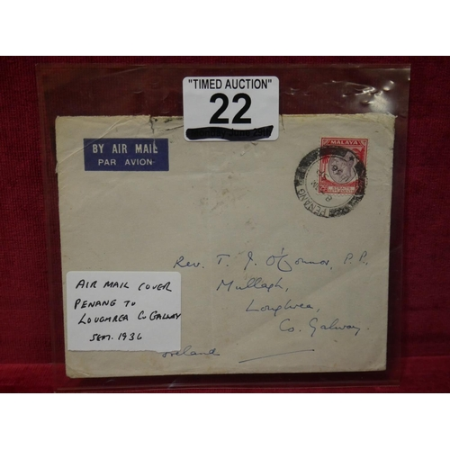 22 - AIR MAIL COVER CO. GALWAY...