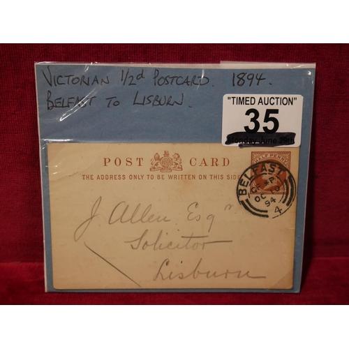 35 - VICTORIAN POSTCARD 1894...