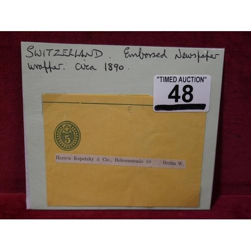 48 - SWITZERLAND NEWSPAPER WRAPPER...