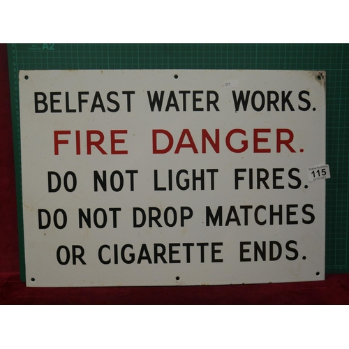 115 - BELFAST WATER WORKS SIGN...