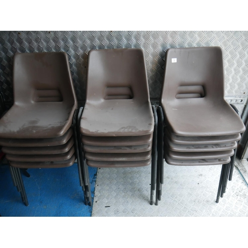 3 - 15 PLASTIC STACKING CHAIRS...