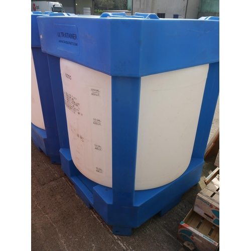 2 - ENCASED BLUE IBC TANK...