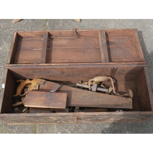 27 - OLD WOODEN TOOL BOX...