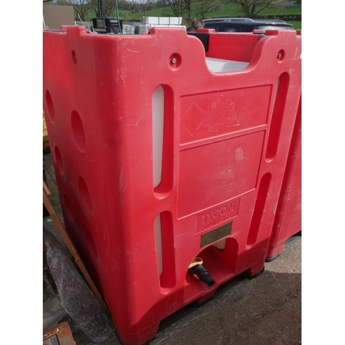 3 - ENCASED RED IBC TANK...