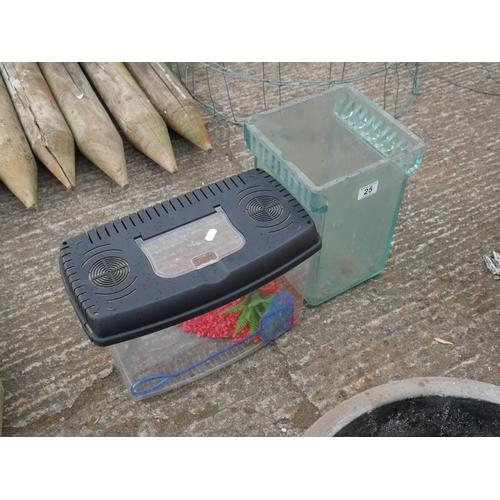 25 - SMALL FISH TANK & GLASS BATTERY CASING...