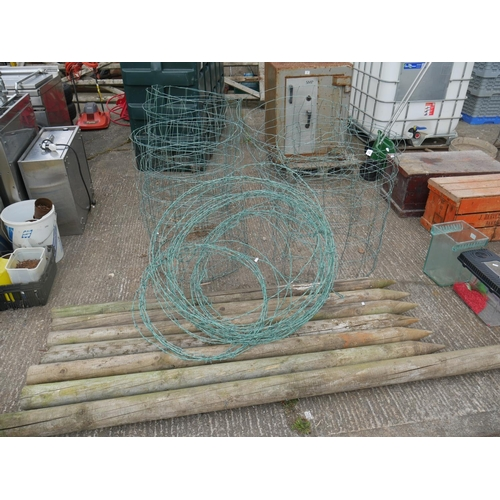 28 - LOT OF POSTS & WIRE...