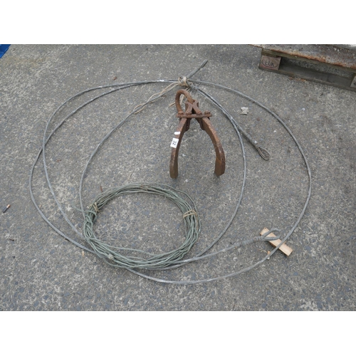 32 - STEEL WIRE & LARGE GRAPPLE...