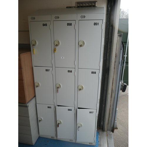 6 - BANK OF 9 LOCKERS WITH KEYS...