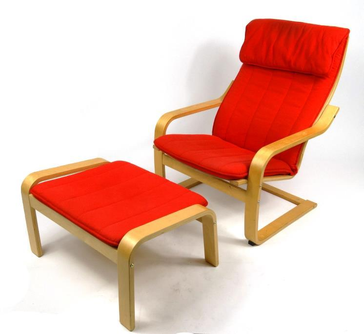 Ikea Stool Red: Contemporary IKEA Armchair And Footstool With Red Upholstery