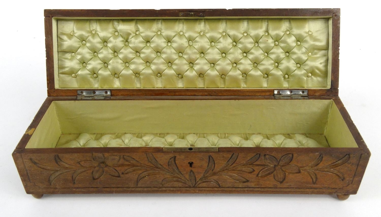 Black forest wooden glove box carved with bears and lined
