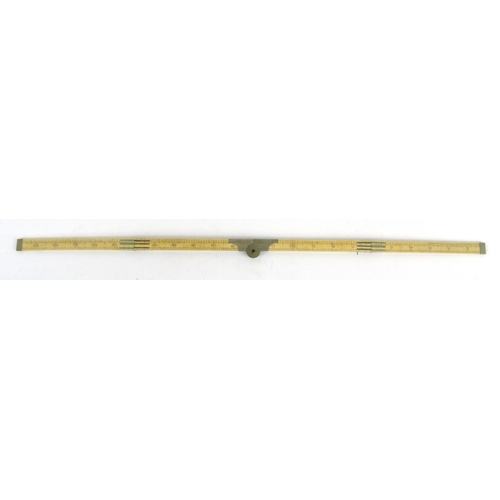 25 - Victorian ivory folding ruler, W.W Worsnop Derby, 17cm long when closed...