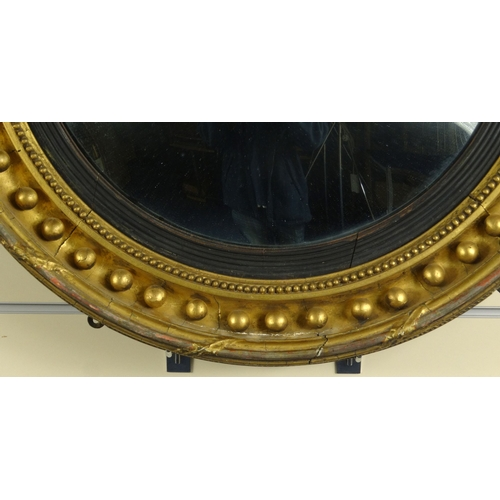 14 - Victorian circular convex gilt wood mirror, 64cm diameter...