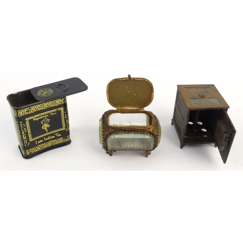 57 - Novelty cast iron moneybox in the form of a safe, brass jewellery box with souvenir scene top and Te...