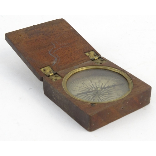 30 - Victorian mahogany brass pocket compass with paper dial, 6.5cm square...